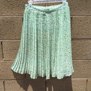 DownEast Mint Floral Pleated Skirt S
